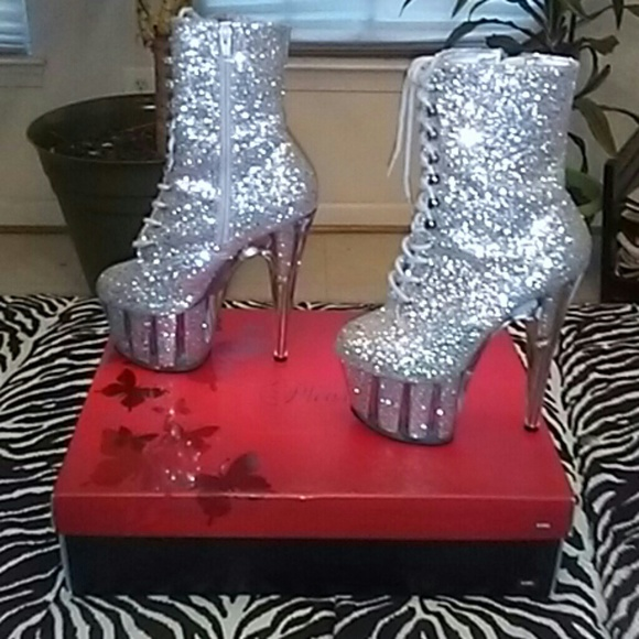 6a04542c624 Pleaser Adore glitter stripper boots